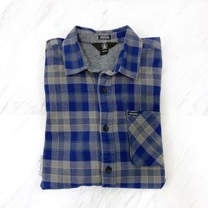 Volcom- Modern Fit Blue & Gray Plaid Button Down